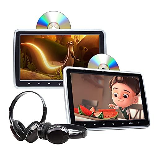 2021 Summer Newest Headrest DVD Player 10.1 Inch DVD Player Universal Vehicle Headrest Monitor Portable DVD Player for Kids Dual Screen Headrest DVD Player Digital Touch Button HDMI-C1100B