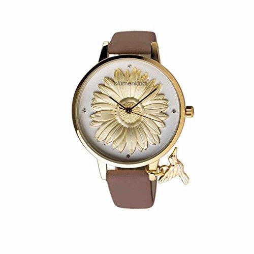 Blumenkind Damenuhr Gold/Kakaobraun 04091981GWHPBR