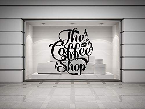 Koffie winkel citaat vinyl muur sticker koffie belettering muur koffie winkel logo muurschilderingen etalage glazen muur sticker 87x93cm