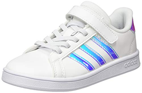 Adidas Grand Court C, Chaussure de Tennis Mixte Enfant, FTWR Blanc/FTWR Blanc/Gris Dash, 30 EU