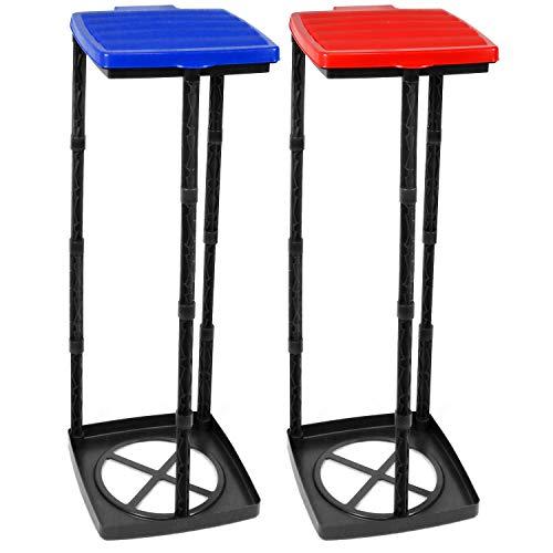 com-four® 2X Müllsackständer mit Deckel in blau und rot, Abfallbehälter in 3 Verschiedene Höhen montierbar (Deckel - blau + rot)
