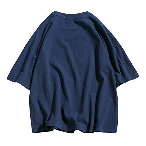 Camisa Color Puro Manga Corta Hombres Verano Casual Tops Camiseta de Algodón y Cáñamo PrecioSoltar