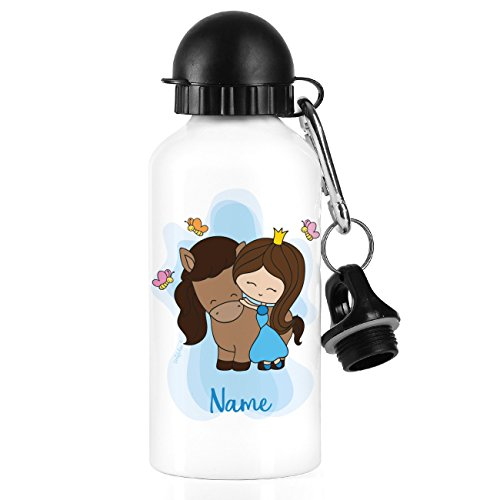 Striefchen® Trinkflasche für Mädchen Motiv: Prinzessin auf Pferd mit Wunschname