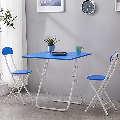 Zhyaj Juego De Muebles De Jardín/Juegos De Muebles De Patio - Mesa De Comedor Plegable Y 2 Sillas,Azul,80cm Square Table