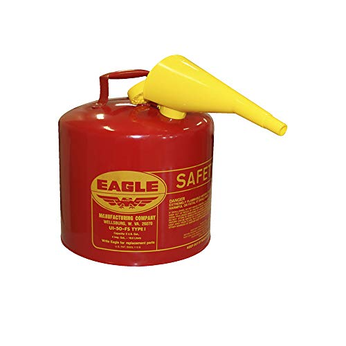 Eagle UI-50-FS Red Galvanized Steel Type I Gasoline Safety Can with Funnel, 5 gallon Capacity, 13.5' Height, 12.5' Diameter,Red/Yellow