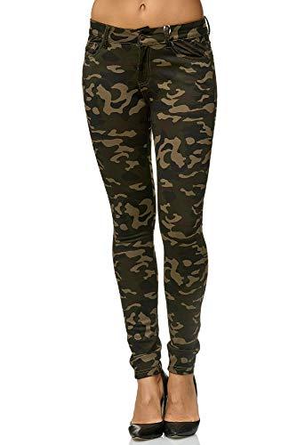 Elara Damen Stretch Hose Skinny Fit Jegging Chunkyrayan A92 Army 38 (M)