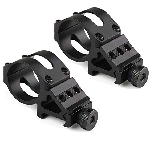 """Megwoll 2 Pack Tactical 1"""" Offset Picatinny Rail Mount for Flashlights Weaver Rail Offset Flashlight Laser, for Tactical Hunting Flashlight Torch Scope Picatinny Rail Offset 20mm Rail Mounts -Black"""