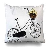 Funda de almohada cuadrada abstracta para la pared del estudio de la bicicleta del apartamento de la bicicleta en blanco negro con cierre de la funda de cojín de la decoración del hogar de 45,7