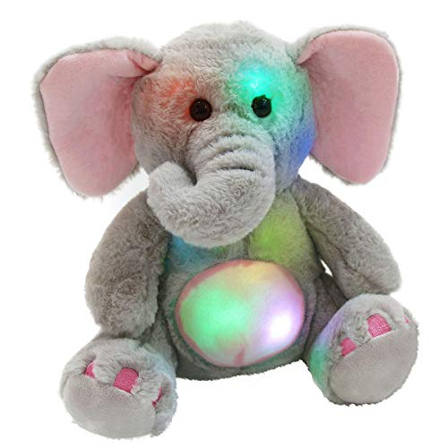 WEWILL Glow Elephant Stuffed Animals LED Cozy Soft Plush Toys Night Companion Gifts for Kids Birthday Christmas Festival Occasions, Gray, 13 inch