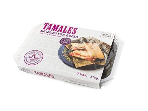 La Reina de las Tortillas - Leader europeo nella gastronomia artigianale messicana.'Tamales' con formaggio e peperone verde.Mais 100%'nixtamalizado'. Adatto a vegani. 3 unità. Scadenza 7 mesi