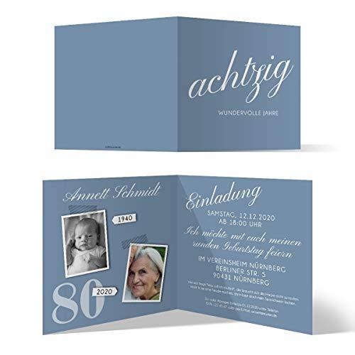 10 x Runder 80. Geburtstag Einladungskarten Geburtstagseinladungen - achtzig wundervolle Jahre