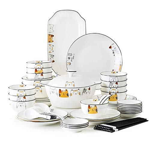ZJZ Juegos de vajilla de cermica, vajilla de Porcelana de 60 Piezas, Caja de Regalo, Cuenco de Cereal, Plato para Carne y Cuenco para Sopa