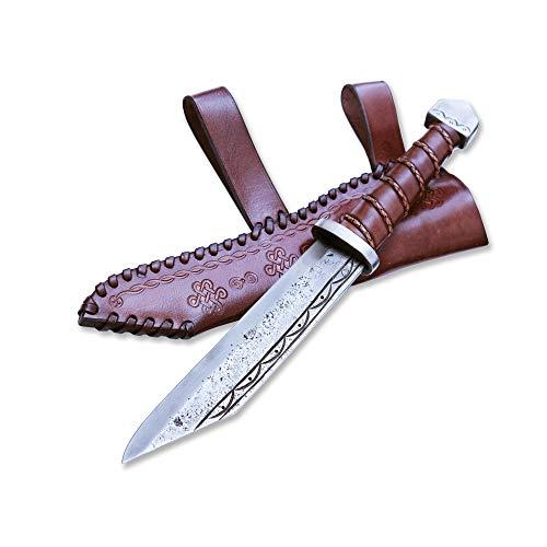 Madhammers Sax Handgeschmiedetes Federstahl Messer - Scharfe & Spitze Klinge mit braun Echtledertasche Kunst- & Kulturliebhaber - Gesamtlänge 36cm - Originelles Geschenk