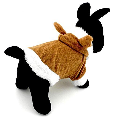 Pegasus Pet chiot vêtements pour petit chien chat en polaire chaude Renne Costume Halloween Dress Up Kaki