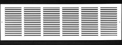 30'w X 6'h Steel Return Air Grilles - Sidewall and Ceiling - HVAC Duct Cover - White [Outer Dimensions: 31.75'w X 7.75'h]