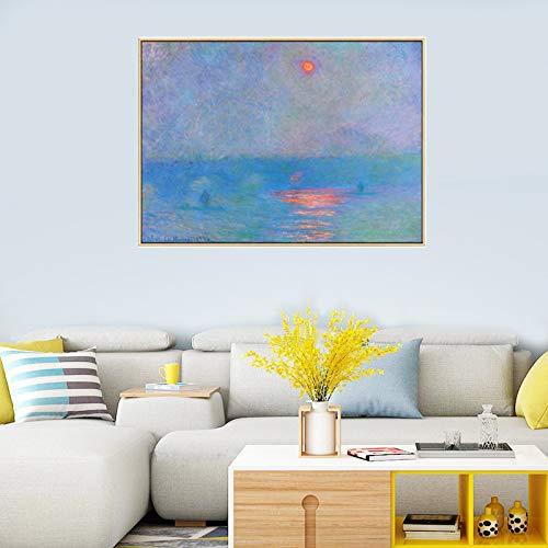 Claude Monet paisaje lienzo pinturas de arte de pared carteles e impresiones cuadros de pared para sala de estar decoración del hogar 40x60 cm 16 'x 24' sin marco