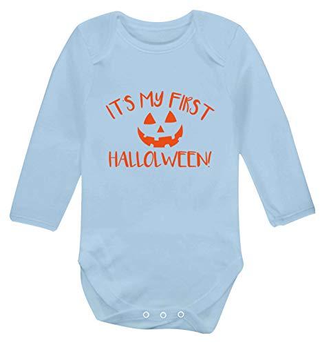 Flox Creative Langarm-Babyweste My 1st Halloween Kürbis Gr. 68, hellblau