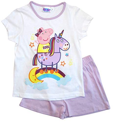 Peppa Wutz Schlafanzug Shorty Mädchen Kurz Peppa Pig Einhorn (Flieder-Weiß, 104)