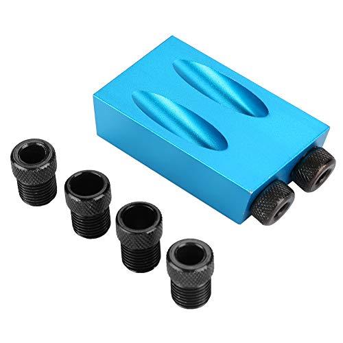 Taschenloch Jig Kit 15 ° Winkel Holzführungs Führung Schrägloch Bohrpositionierer 6/8 / 10mm Holzlokalisierung Blau