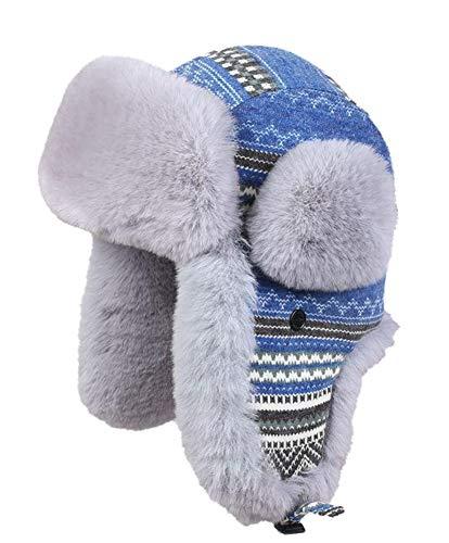 Insun Insun Unisex Wintermütze Gestrickt Fliegermütze Pilotenmütze Russenmütze Ohrenschützer Blau S (Hut Umfang:56cm)