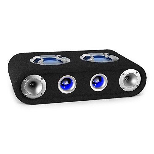 """auna Beatgust X65 - Car HiFi Lautsprecher, passiver Lautsprecher, 2-Wege Auto Box, 150 Watt RMS, 2 x 6,5\"""" Breitbandlautsprecher, LED Lichteffekt, Filz-Beschichtung, Schutzgitter, schwarz"""