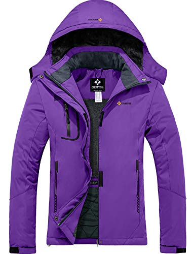 GEMYSE wasserdichte Berg-Skijacke für Frauen Winddichte Fleece Outdoor-Winterjacke mit Kapuze (Helles Lila,L)