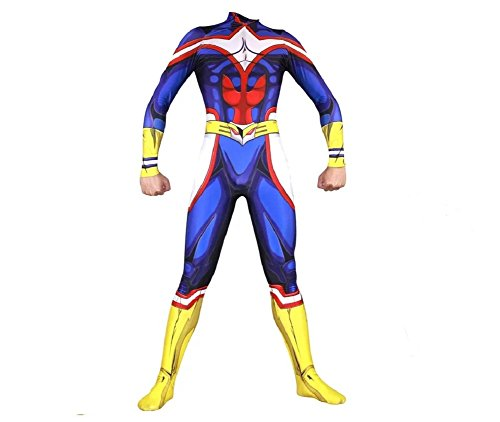 Joyfunny My Hero Academia All Might Jumpsuit Halloween Cosplay Costume Unisex Bodysuit Adult XS
