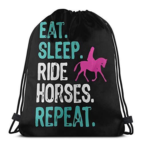 Eat Sleep Ride Horses Repeat Unisex Drawstring Backpack Bag Sport Gym Travel Sackpack