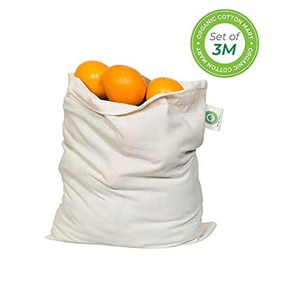 "Muslin Produce Storage Bags - Almond Milk Bags - Reusable grocery bags cotton drawstring - Candy Bag - Breathable Muslin Organic Cotton Reusable Produce Bags - Set of 3 (3, Medium - 10""x12"")"