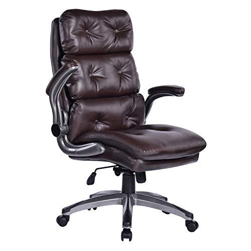 Bosmiller Bürostuhl Ergonomischer Chefsessel wegklappbare Armlehne Kippverriegelung Drehsessel Sitz Schreibtischstuhl Drehstuh Brown 9029