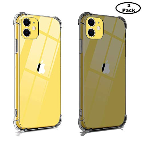 2 Pack Compatible iPhone 11 PRO MAX 6.5inch(2019) Case, TPU Crystal Clear Cover [ Bumpers] Shock Absorption with 4 Corners Protection,for iPhone 11 PRO MAX 6.5inch(2019)-Clear+Clear Black