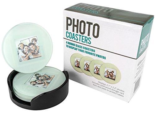 Southern Homewares SH-10192 Glas-Bilderrahmen, Bilder-Untersetzer, Kreis, mit Holzregal, 4 Stück