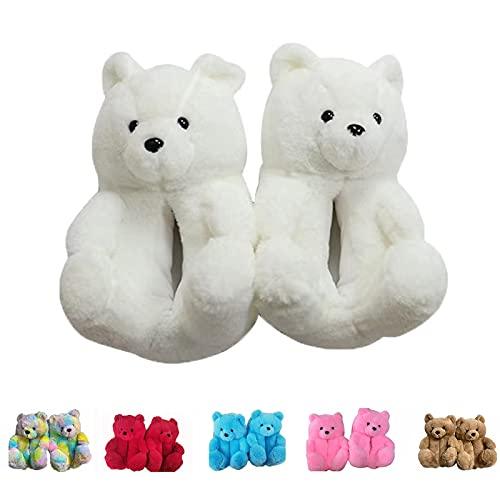 QQSA Teddy Bear Slippers, Plush Animal Slippers Winter Warm Shoes (White)