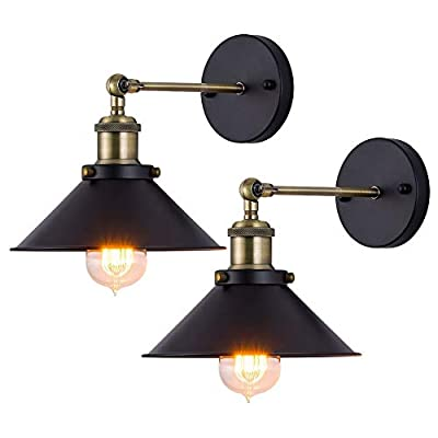 JIGUOOR Wall Sconces Lighting, Vintage Industrial Style Wall Light Indoor and Outdoor Light Fixture Wall Mount Lamp for Farmhouse, Bedroom, Vanity, Living Room, Kitchen, Porch (2 Pack)