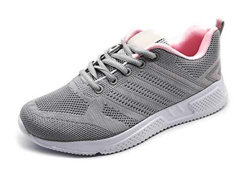 Zapatillas Deportivas Mujer Running Ligero Malla Transpirable con Cordones Zapatillas de Deporte para Mujeres Fitness Correr Atletismo Caminar Andar Gimnasia Gris Rosa 38