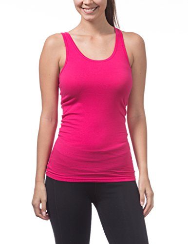 Pro Club Women's Racer Back Tank Top, Medium, Hot Pink