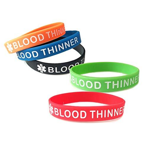 JOYID Blood THINNER Medical Alert ID Emergency Bracelet Warning Wristband Silicone Bracelet 5pcs Multicolor