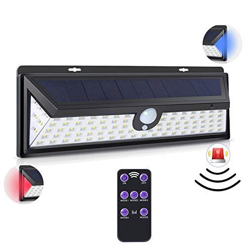 SUNASQ Lámpara de movimiento 92-Led impermeable tres modos durable luz de pared solar para jardín puerta hogar