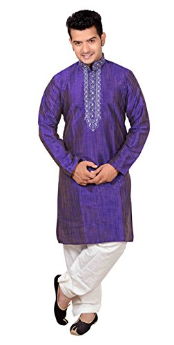 Para hombre indio Blend de seda Kurta salwar kameez pijama sherwani party 747
