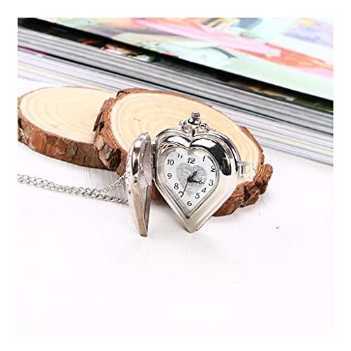 Reloj de bolsillo elegante clásico.Reloj de bolsillo y cadena de relojes de bolsillo, collar de en forma de corazón de la vendimia al aire libre, como el día del padre / un regalo / aniversario / navi