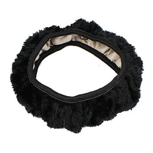 Cubierta del volante - TOOGOO(R)Caja escudo elastico de felpa antipatinaje de coche Cubierta del volante Negro