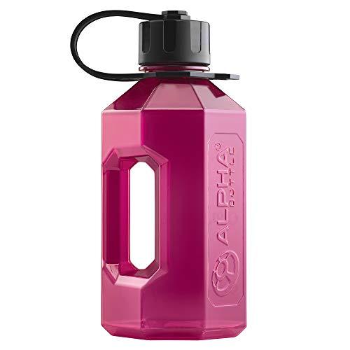 Alpha Bottle XL - Botella de 1.6 litros para agua/gimnasio - Libre de BPA Ideal para gimnasio, deportes, excursiones y oficina - Hecho en el Reino Unido Materiales 100% seguros para usar (Rosado)