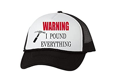 Rogue River Tactical Funny Trucker Hat Warning I Pound Everything Baseball Cap Joke Framer Carpenter Hammer