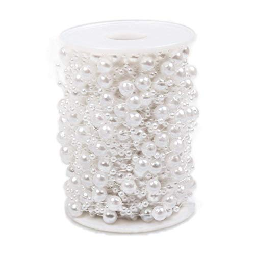 ABUFF Pearl Beads Chain 98 Feet, Artificial Pearls String for Decorating Christmas Tree, Garland Flowers, Wedding Party Decoration, Bridal Bouquet, 3-8mm, White