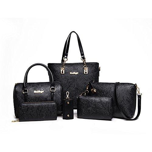 Tisdaini® Damen handtaschen Mode Prägung Schultertaschentasche Set 6 Stuck Shopper Umhängetaschen Brieftasche Schwarz