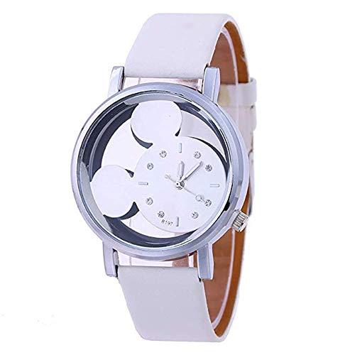 Amycute Reloj Mickey Mouse, Reloj de Pulsera Disney Reloj Niños Blanco de Cuarzo con Correa en Cuero para Regalo de Adolescente Niños Mujeres