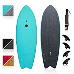 """The Mahi is 72"""" x 22"""" x 2.75"""" with 40L of volume and supports riders up to 220 lb This 6' shortboard has a 4-fin quad system with FCSII fin boxes and includes 4 FCS fins, fin key & 6' leash Its hard rails allow for fast and clean transitions while th..."""