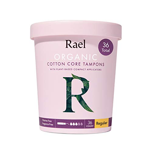 Rael Organic Cotton Compact Tampons  Plant Based Applicator Chlorine Free Compact Applicator with Leak Locker Technology 36 Count Regular