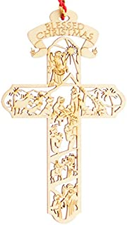 Jolette Designs Product Name Nativity Cross Wooden Christmas Ornament : Heirloom Quality Keepsake for Christmas Tree, Home & Car : Precision Laser Cut Red Alder Wood, 4 1/2