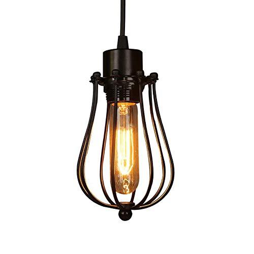CSDM.AI Lámpara Colgante Retro Vintage, Moderna Jaula De Metal Loft Lámpara De Techo para Pasillo Salón Negro E27 Tamaño 11 × 21Cm
